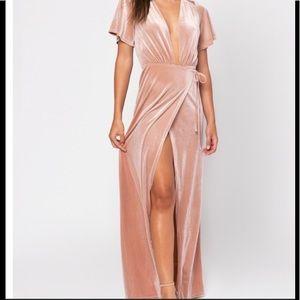 Tobi Velvet Blush Pink Maxi Wrap Dress